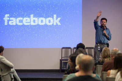 "Arturo Bejar, a Facebook engineer who has been leading its ""social reporting"" project, speaking at Facebook's second Compassion Research Day on July 11."
