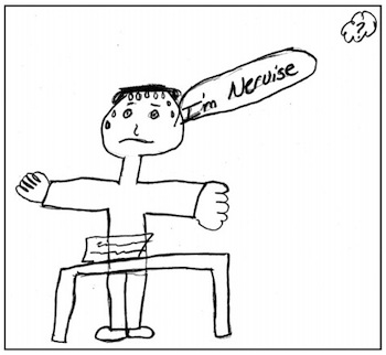 An elementary-level student's drawing depicting how the student felt while taking a standardized test.