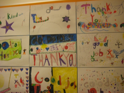 Gratitude Wall at Chabot Elementary in Oakland