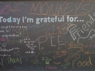 Gratitude Wall at Sonoma Charter School--made from recycled items by school parents Kate & Bob Molesworth and chalkboard paint donated by the local paint store