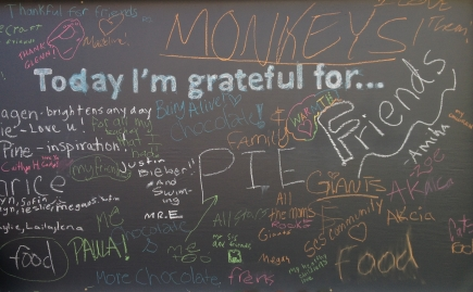 Gratitude Wall at Sonoma Charter School—made from recycled items by school parents Kate & Bob Molesworth and chalkboard paint donated by the local paint store