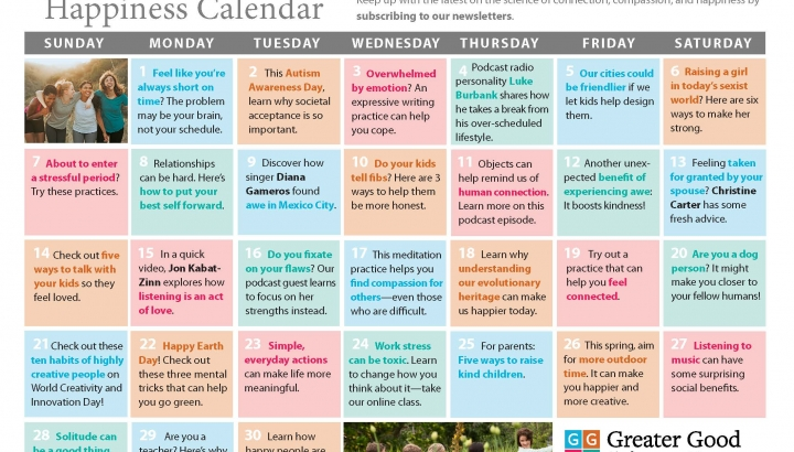Your Happiness Calendar for April 2019