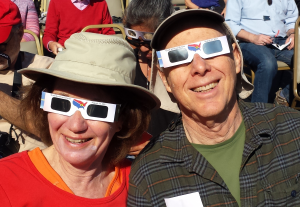 Drs. Art and Elaine Aron watching last year's total solar eclipse in Salem, Oregon.