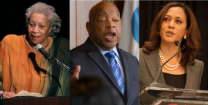 Black storytellers: Author Toni Morrison, Congressman John Lewis, and Senator Kamala Harris