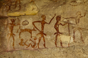 Rock art in Nakhon Ratchasima, Thailand, depicts a collaborative hunting scene.