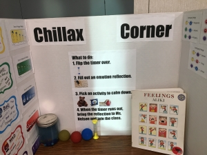 The Chillax Corner offers students space and activities to regulate their emotions.