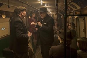 Winston Churchill (played by Gary Oldman) talks to the people of the London Underground in <em>The Darkest Hour</em>.