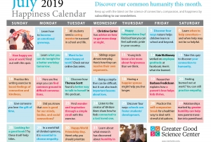 Your Happiness Calendar for July 2019