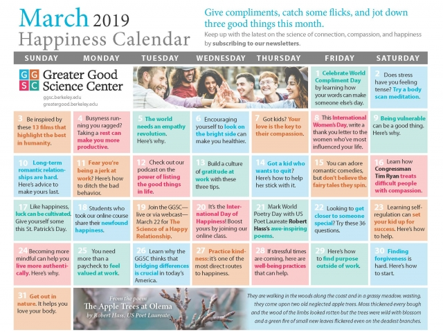 Your Happiness Calendar for March 2019