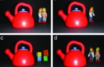 The four types of photos used by researchers who found that images with dolls facing each other in the background--like in image (a)--primed kids to help others.