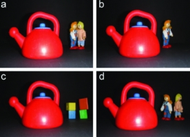 The four types of photos used by researchers who found that images with dolls facing each other in the background&#8212;like in image (a)&#8212;<a href=&#8220;http://greatergood.berkeley.edu/article/item/kind_kids1&#8221;>primed kids to help others.</a>