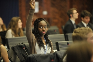 A student at a Model United Nations conference in Geneva