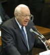 Former Illinois Governor George Ryan delivering his January 11, 2003 address at Northwestern University, when he commuted the sentences of 167 death row inmates and freed four others.