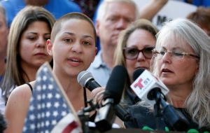 "Emma Gonzalez, a senior at Marjory Stoneman Douglas High School, <a href=""https://www.cnn.com/2018/02/17/us/florida-student-emma-gonzalez-speech/index.html"">addresses</a> a gun-control rally in Fort Lauderdale, Florida, days after a gunman killed 17 people at her school."