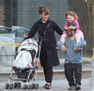 <em>Game of Thrones</em> star Peter Dinklage with his wife, Erica Schmidt, and their daughter.
