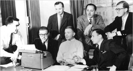 The legendary writing staff of Your Show of Shows in the 1950s included Mel Brooks (front row, far right) and Neil Simon (back row, far left). Their collaboration epitomizes