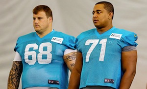 According to a recent report from the NFL, Miami Dolphins player Richie Incognito (left, number 68) bullied Jonathan Martin (right, 71).