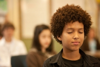 A student participating in the Oakland, California-based Mindful Schools program.