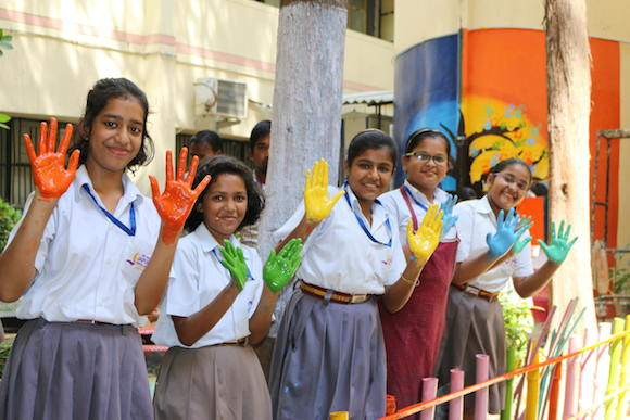 Anam students painted hands