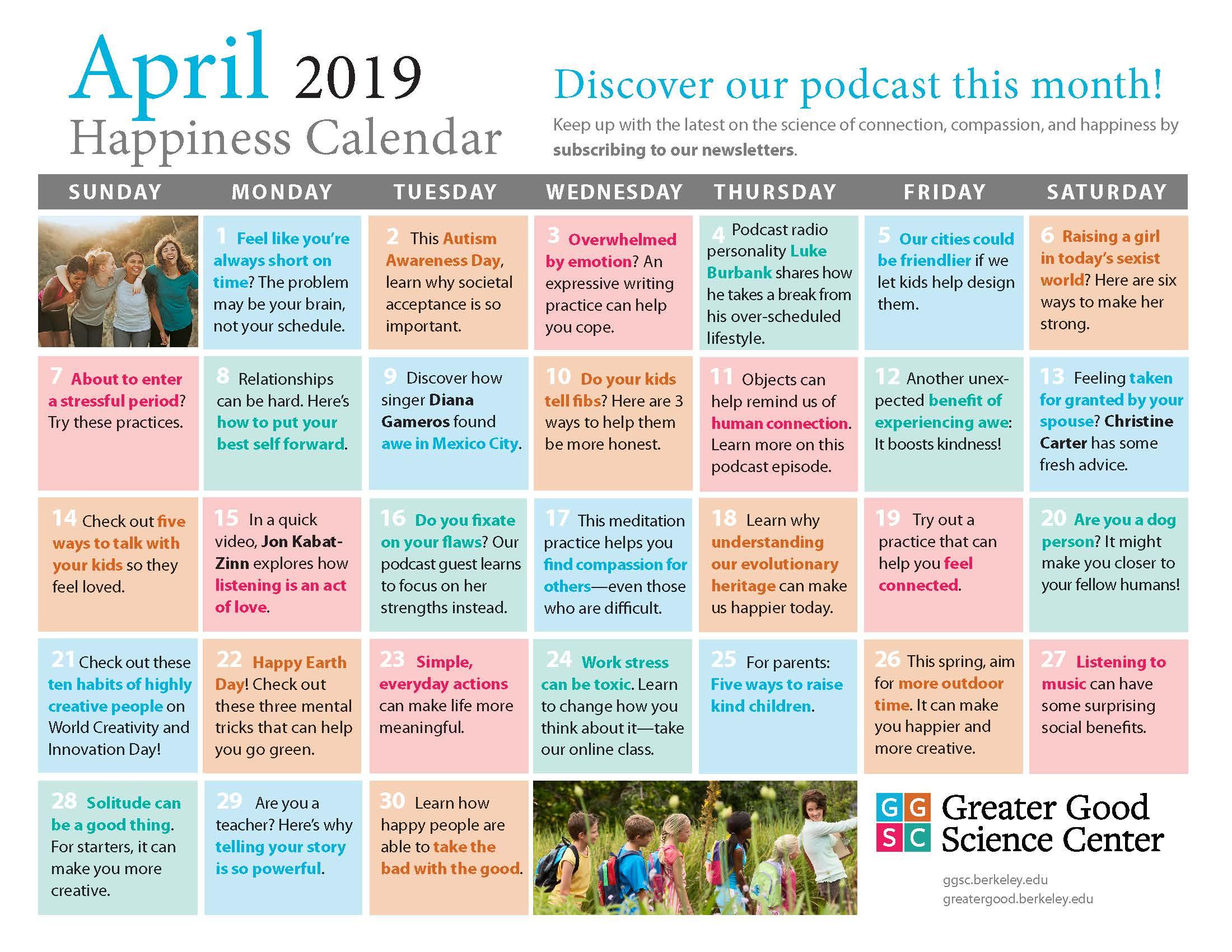 April 2019 Happiness Calendar