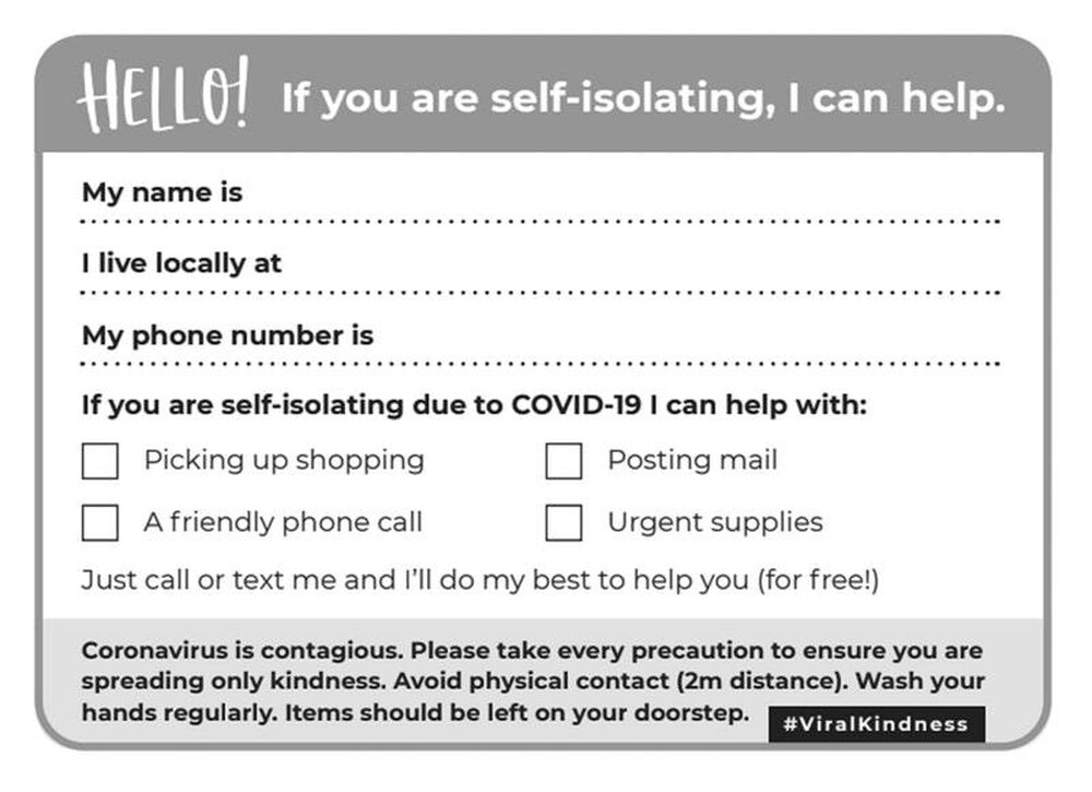 coronavirus postcard viral kindness self-isolation