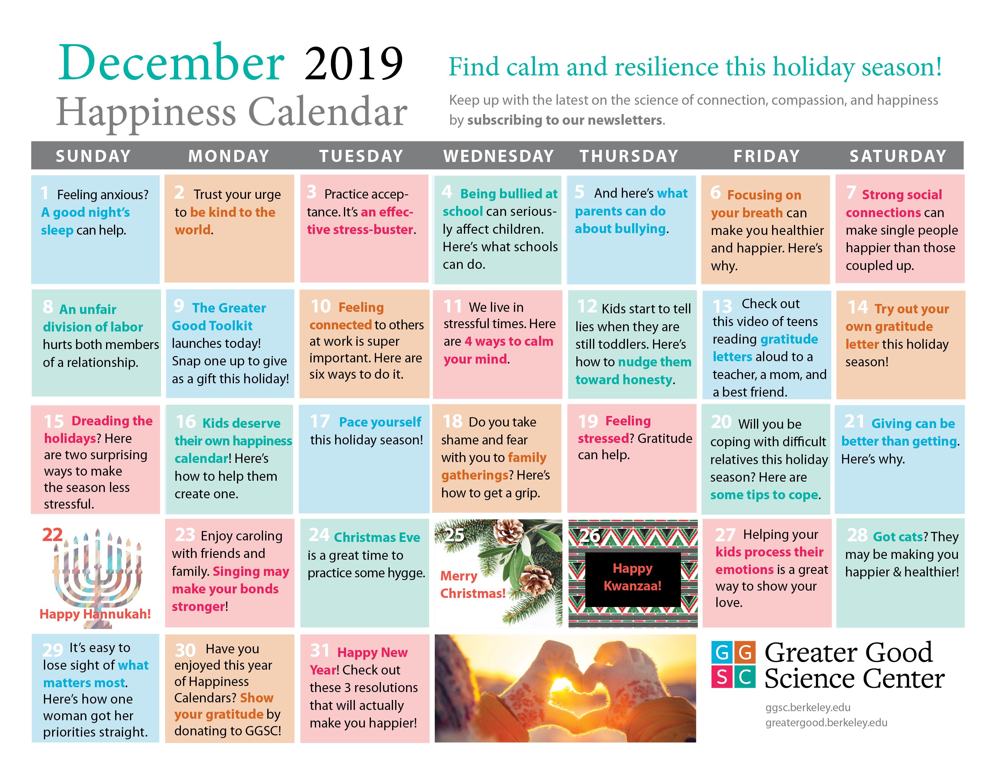 December 2019 Happiness Calendar