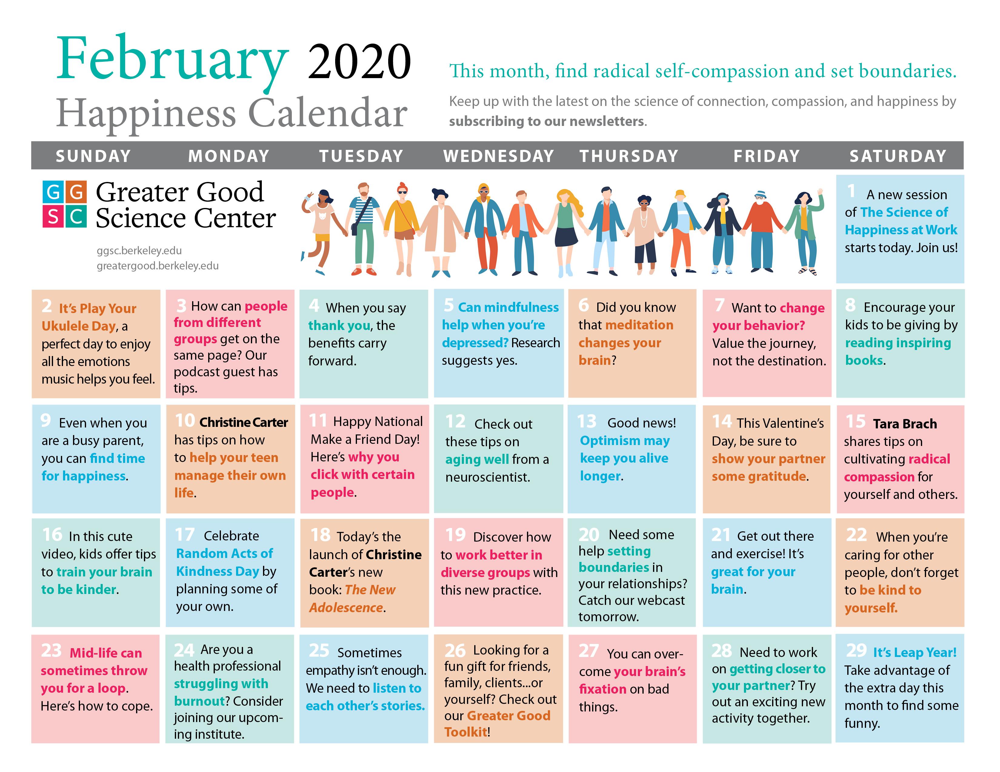 February 2020 Happiness Calendar