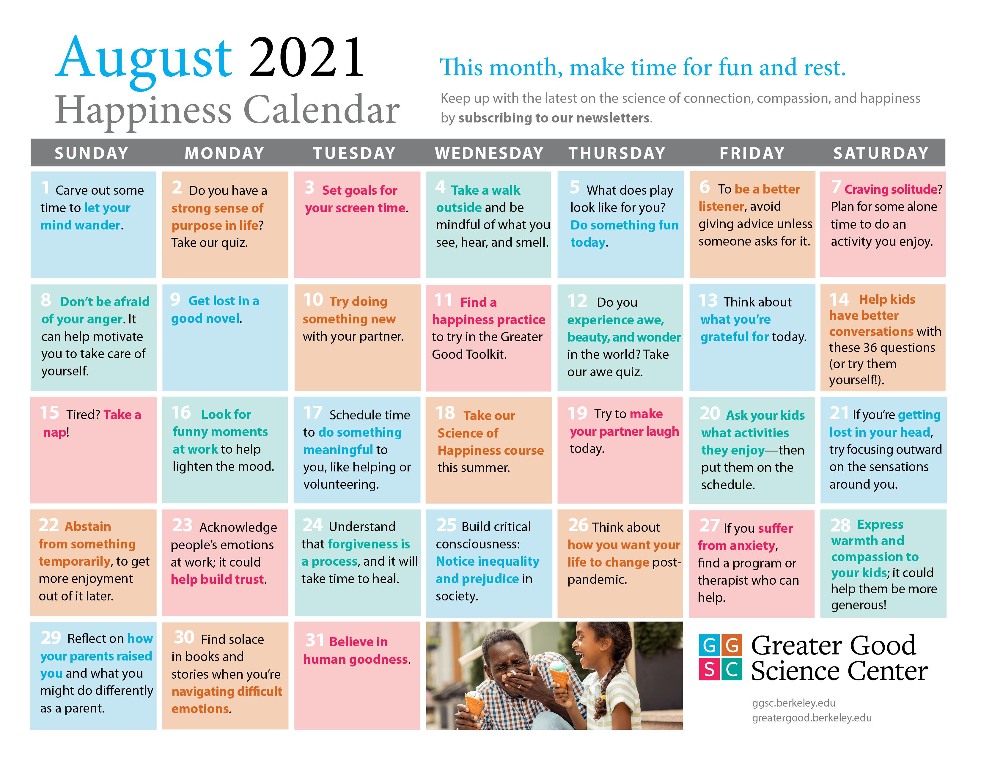 August happiness calendar