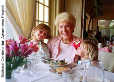 Elsa Hoffmann, 102, with her great granddaughters.