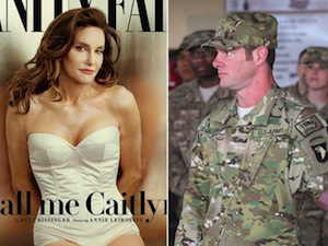 Caitlyn Jenner (left, on the cover of <em>Vanity Fair</em>) won the Arthur Ashe Courage Award from ESPN. This triggered a social media uproar, with many arguing that it should have gone to U.S. Army veteran Noah Galloway (right), an athlete who lost an arm and a leg in Iraq.