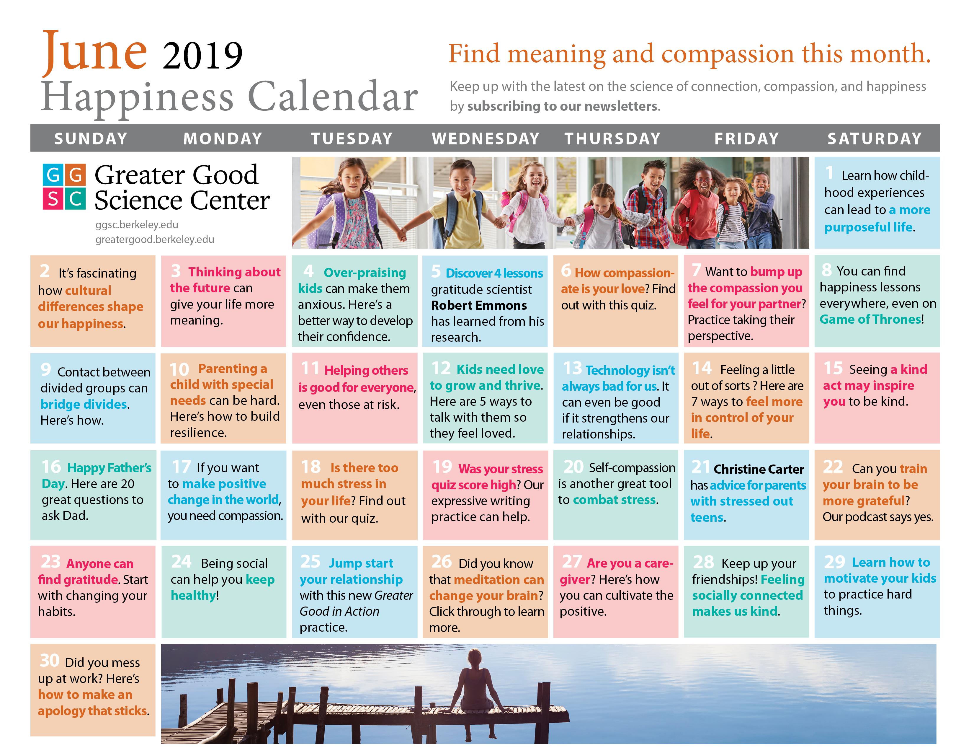 June 2019 Happiness Calendar