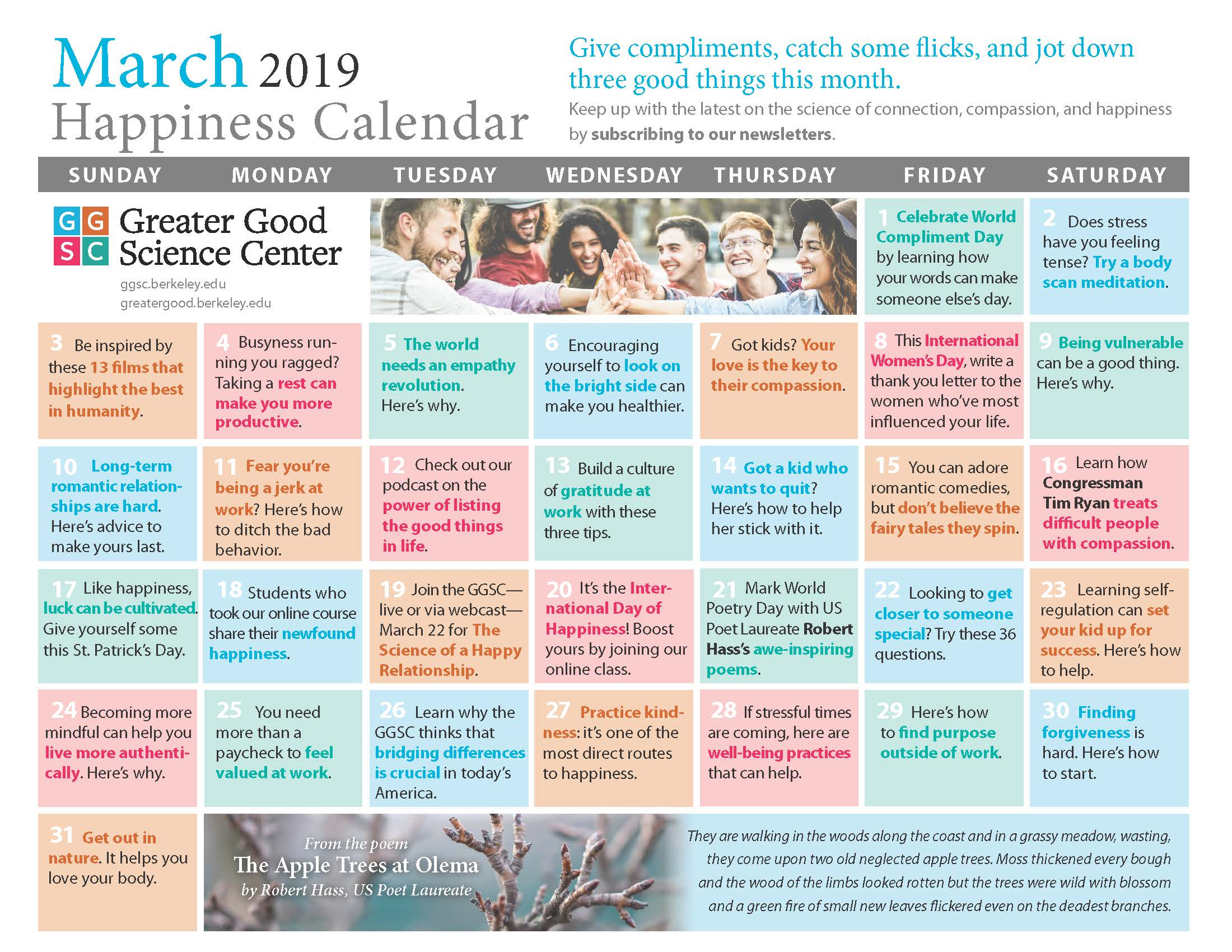 March 2019 Happiness Calendar