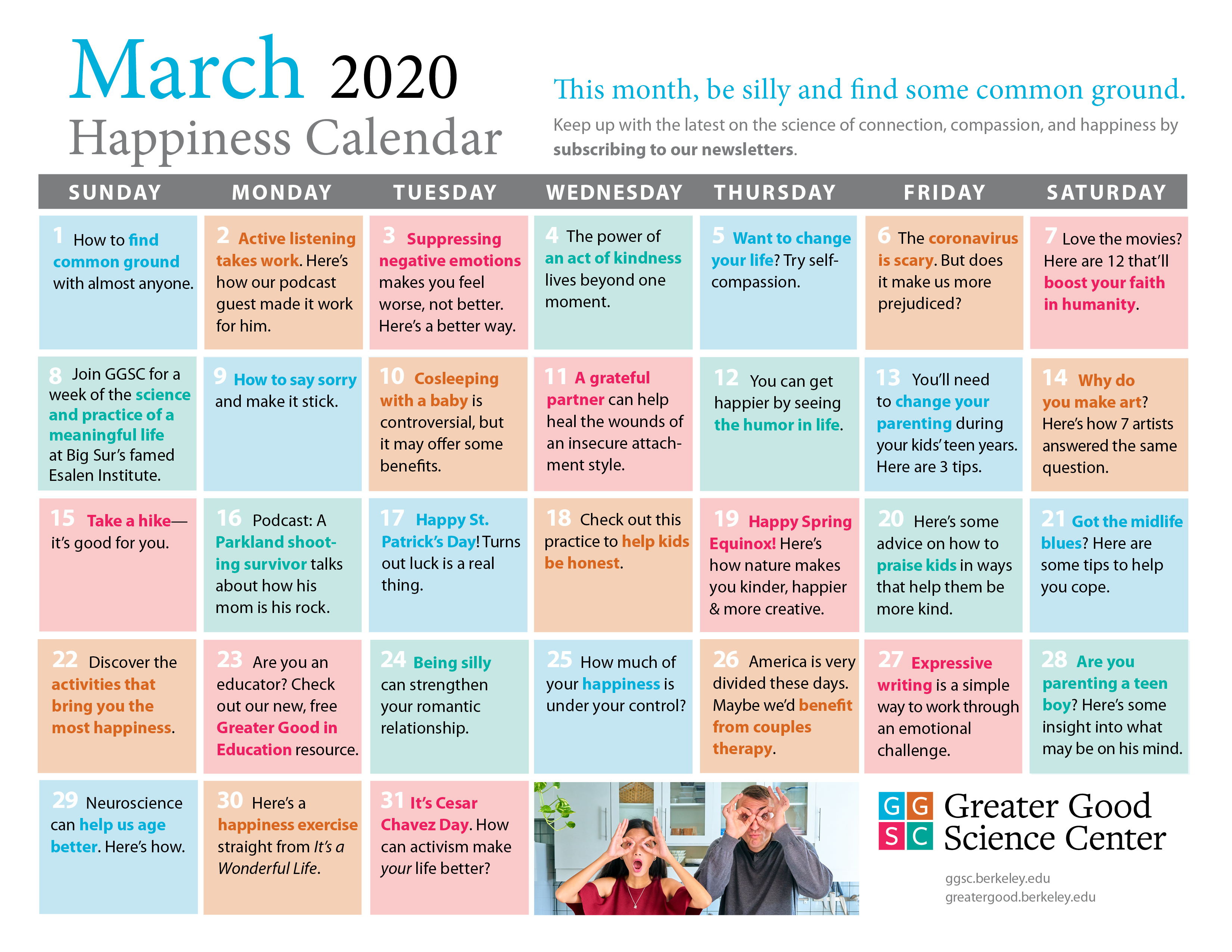 March 2020 Happiness Calendar