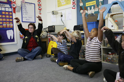 Children participating in the Mindful Schools program.