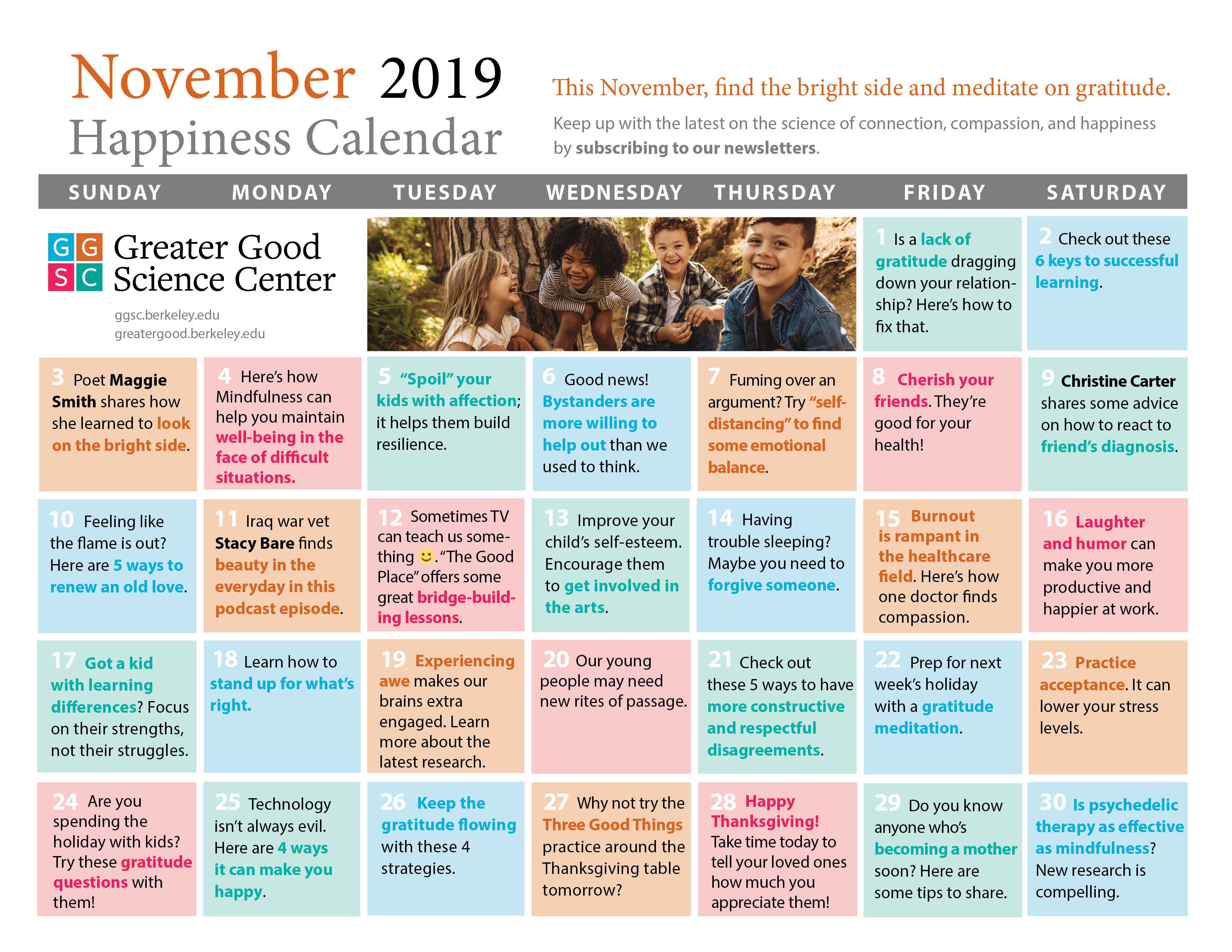 November 2019 Happiness Calendar