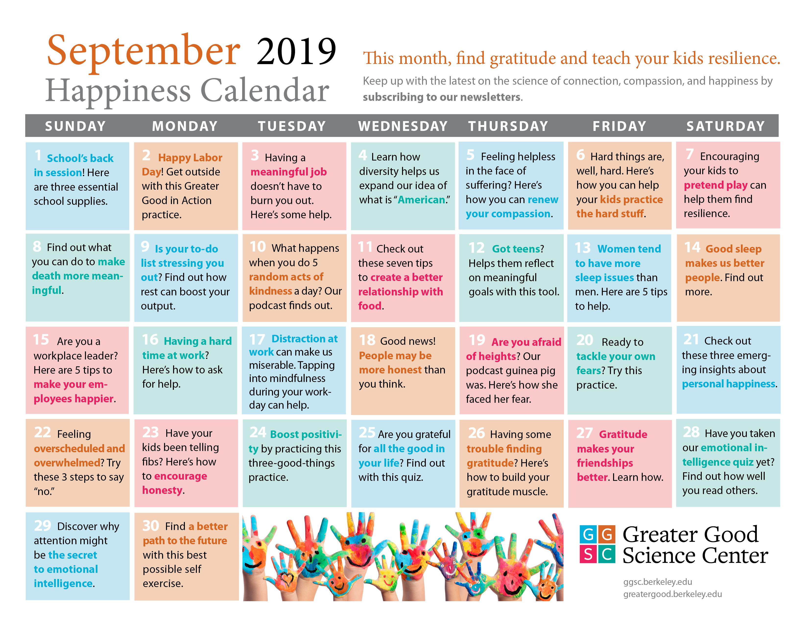 September 2019 Happiness Calendar