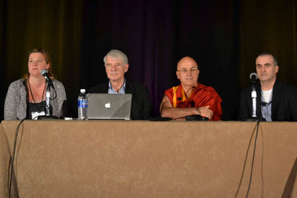 Panelists Tania Singer, Wolf Singer, Matthieu Ricard, and Evan Thompson discuss the brain and consciousness at ISCS.