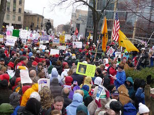 A Tea Party protest in Wisconsin