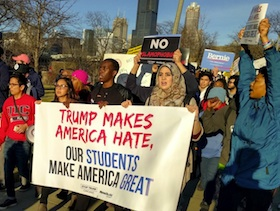 Students protest GOP presidential candidate Donald Trump's rally at the University of Illinois in Chicago,  March of 2016.