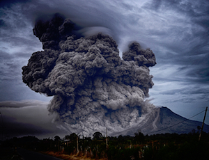 Mount Sinabung volcano in Indonesia