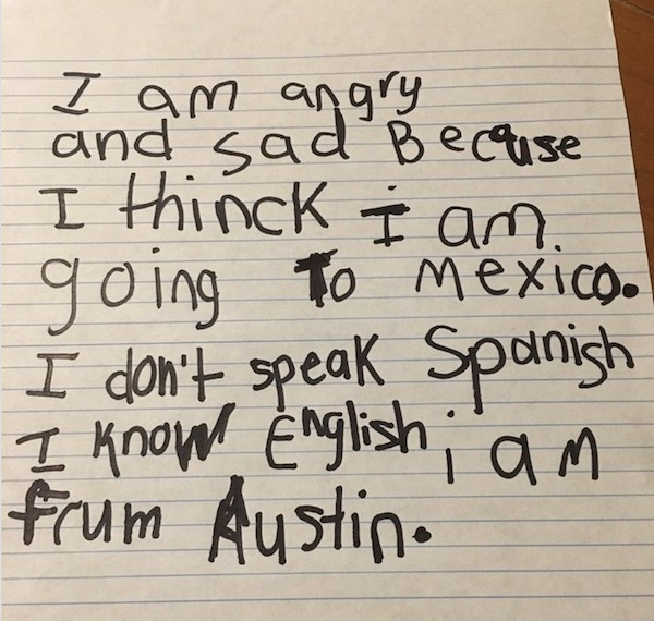 Child's letter in Texas