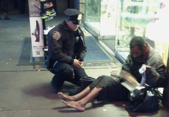 Cop gives shoes