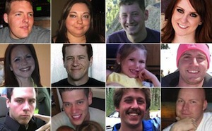The 12 people killed by James Holmes on July 20, 2012.